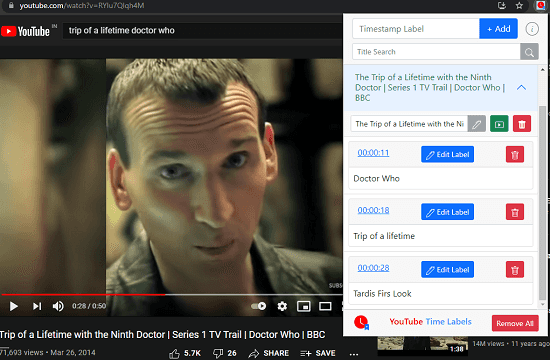 YouTube Time Labels Create a Bookmarks