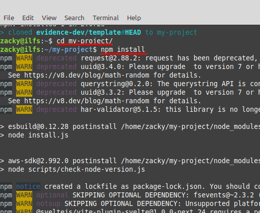 evidence project install node modules