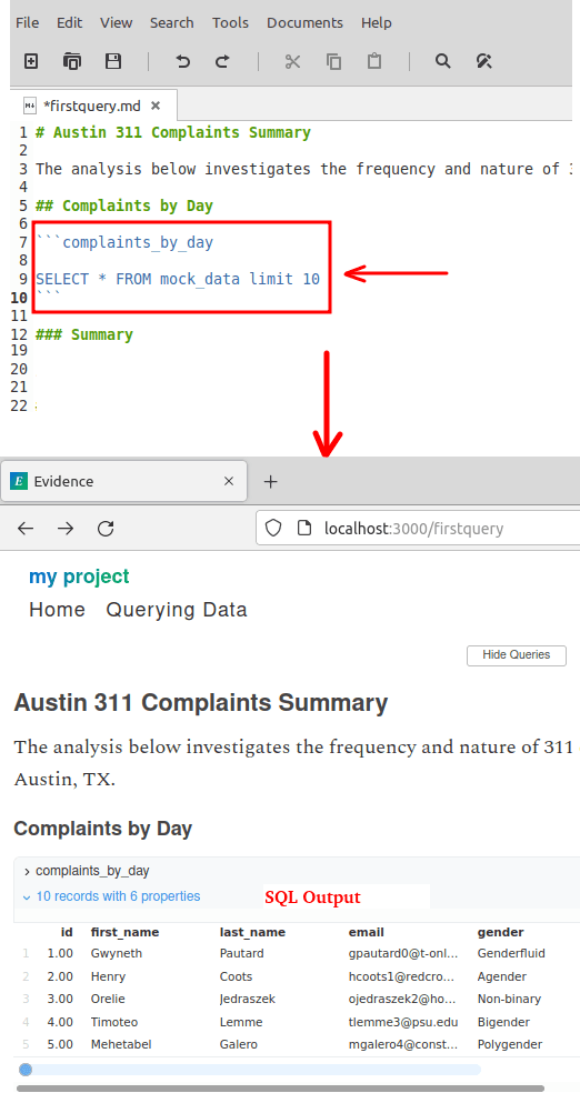 evidence sample markdown with SQL