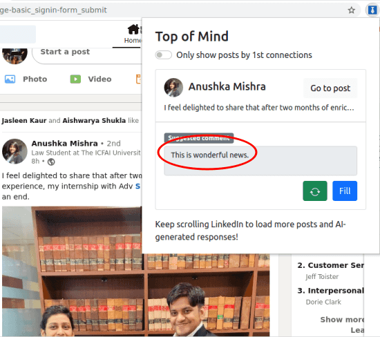 generate Comment for LinkedIn
