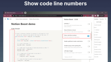 Add Line Numbers to Code Blocks in Notion