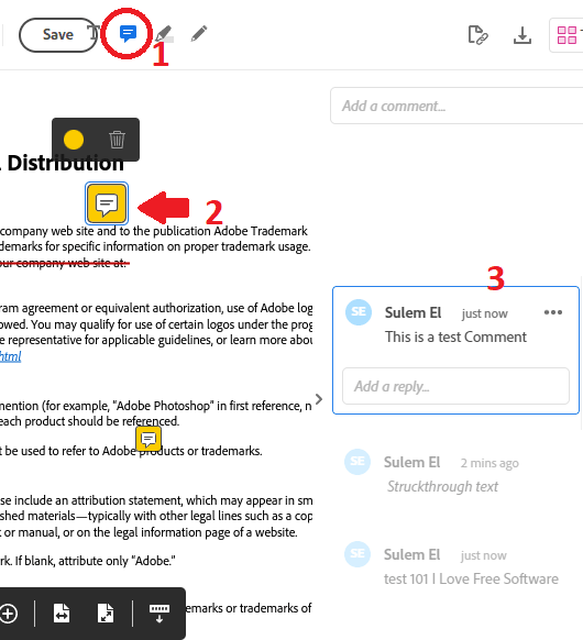 Adobe Acrobat Comments