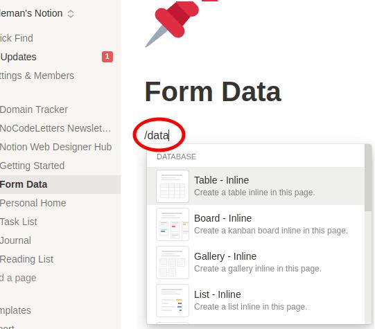 Form data creation command