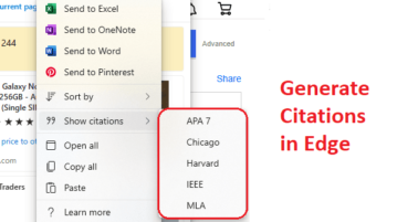 How to Generate Citations from Websites Added to Microsoft Edge Collections