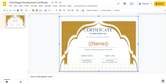 Certificate template for CertifySimple