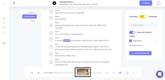 Transcription for the uploaded video in Meetgeek.ai